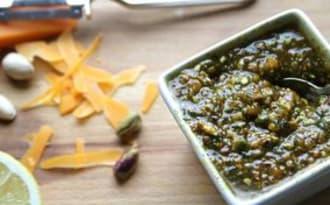 Pesto revisité pistaches et mimolette