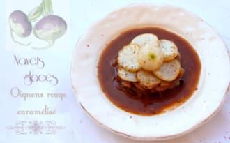 Navets glacés & oignons rouge caramélisé