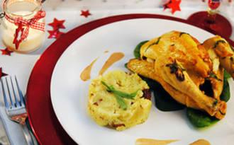 Coquelets rôtis, écrasé de pommes de terre aux noisettes, sauce au foie gras