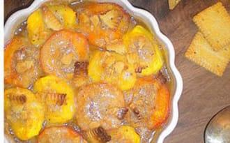 """Abricots et pêches gratinées façon """"amandine"""""""