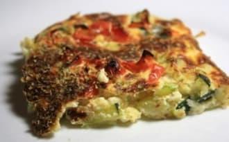 Tarte sans pâte courgettes, tomates, parmesan et origan