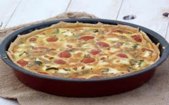 Tarte aux courgettes, tomates, feta et menthe