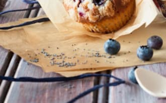 Muffins plein de saveurs Myrtilles, Fruits de la passion