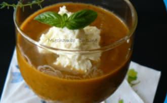 Soupe Froide de Tomates et Poivron Vert, Mousse de Mascarpone et Ricotta