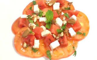 Salade de tomates, pastèque et feta