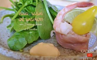 Maki-Sushi de saumon fumé aux harengs fumés et crevette