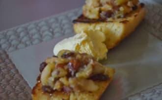Pain perdu orange / cannelle et sa compotée de pommes au miel et fruits secs