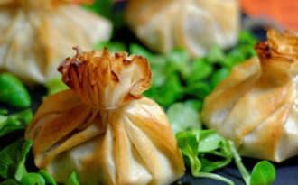 Aumônières de boudins blancs aux truffes et pommes