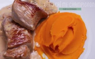 Grenadins de veau à la crème champignons et purée de potimarron