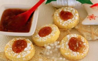 Biscuits sablés à la confiture fraise rhubarbe