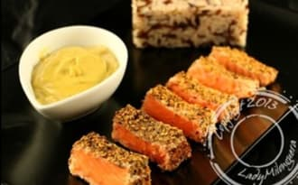 Saumon mi-cuit aux épices et sauce satay