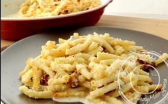 Gratin de macaronis, gorgonzola et noix