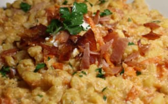 Blesotto à la ricotta, tomates & chips jambon cru