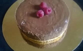 Génoise à la crème Pralinoise, Mascarpone et framboises