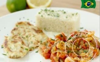 Filet de merlan, sauce crevettes et tomates