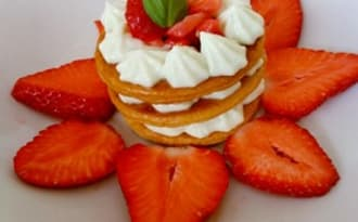 Millefeuille fraise basilic