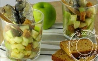 Verrines de sardines et pommes Granny Smith