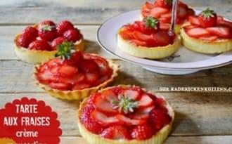 Tartelettes aux fraises et crème mousseuse vanille