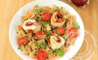 Ballottines de poulet, coppa, tomates séchées et mozzarella