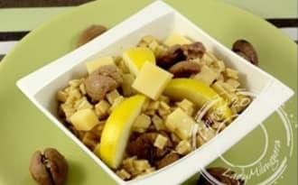 Salade de crozets aux pommes, marrons et Comté