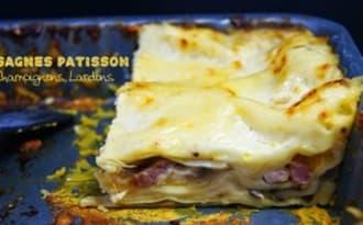 Lasagnes au patisson, champignons et lardons