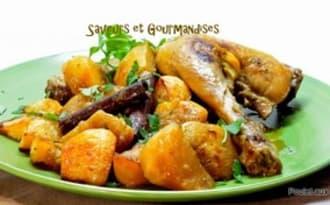 Tajine de poulet aux navets.