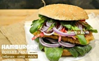 Hamburger poulet pané betterave mâche et comté