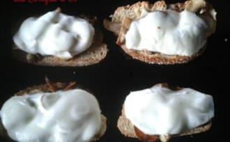 Tartines grillées aux champignons et mozzarella