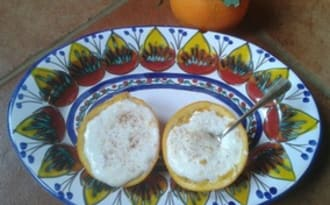 Crème dessert à la ricotta et à l'orange,cannelle et raisins secs