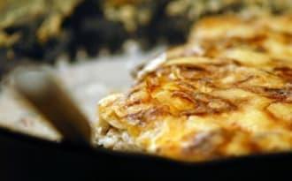 Gratin de chou au jambon cru, crème et cantal
