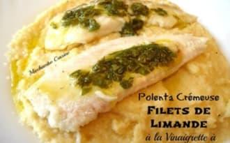 Polenta crémeuse au lait d'amande et parmesan, filet de limande à la vinaigrette à l'oseille