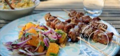 Brochettes d'agneau mariné à l'orange et au fenouil