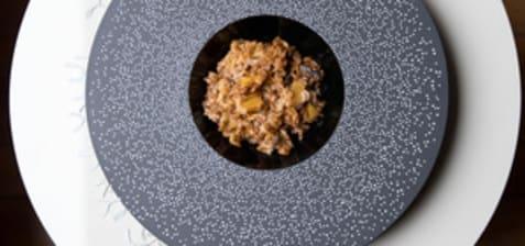 Risotto d'épeautre butternut, châtaignes, champignons