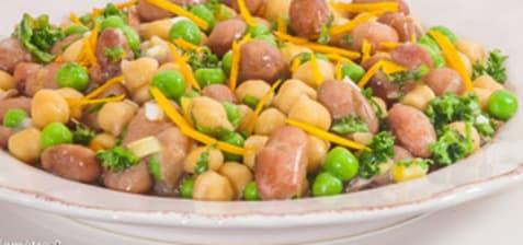 Salade de haricots, pois chiches et petits pois