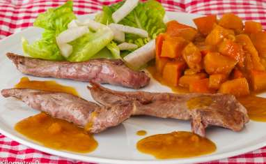 Aiguillettes de canard, potimarron à l'orange