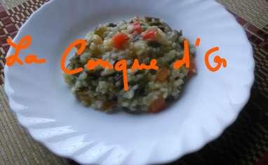 Risotto aux poivrons rouges, courgettes et haricots verts