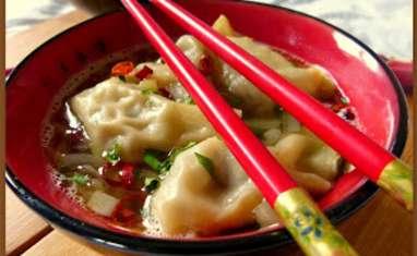 Soupe de raviolis Wonton de canard au gingembre