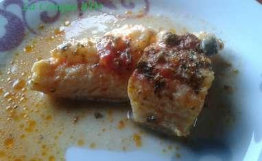 De la morue au four avec sauce tomate et câpres
