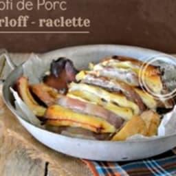 Roti porc orloff avec restes de fromage raclette, coppa, bacon et pancetta