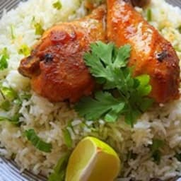 Poulet sauce soja miel et riz basmati à la coriandre