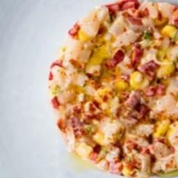 Tartare de pétoncles, maïs et poivron Piquillo