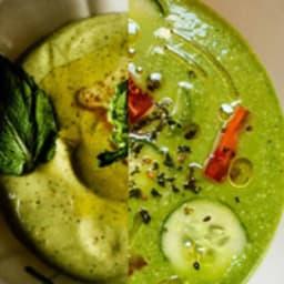 Gaspacho vert et Velouté de fèves à la menthe