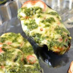Aubergines rôties à la mozzarella et au pistou