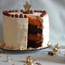 Layer cake de Noël cacao, potiron et noisettes