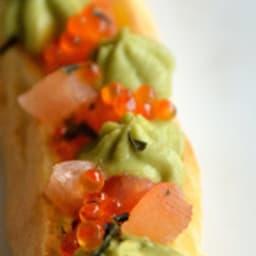 Eclair truite, avocat et wasabi
