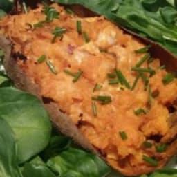 Patate douce farcie au fromage frais et bœuf séché