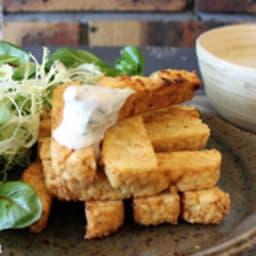Frites de panisse au quinoa, sauce à l'ail