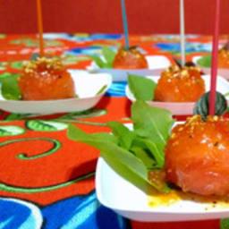 Déclinaison pastèque, cocktail, confiture, picles d'écorce et mini salade
