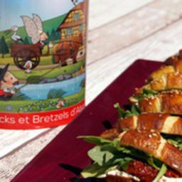 Mini croissants bretzel aux tomates séchées et roquette