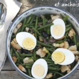 Salade de haricots verts aux anchois et olives